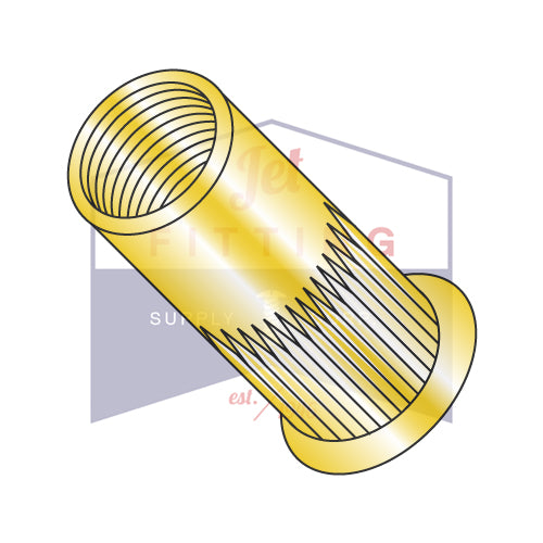 10-32 x Grip .020-.130  Small Flange Ribbed Threaded Insert Steel Zinc Yellow - Bulk