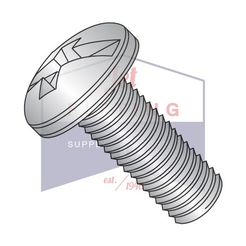 8-32X1/2  Combination Pan Head Machine Screw Fully Threaded 18-8 Stainless Steel