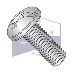 1/4-20X1/2  Combination Pan Head Machine Screw Fully Threaded 18-8 Stainless Steel
