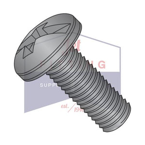8-32X3/8  Combination Pan Head Machine Screw Fully Threaded Black Oxide