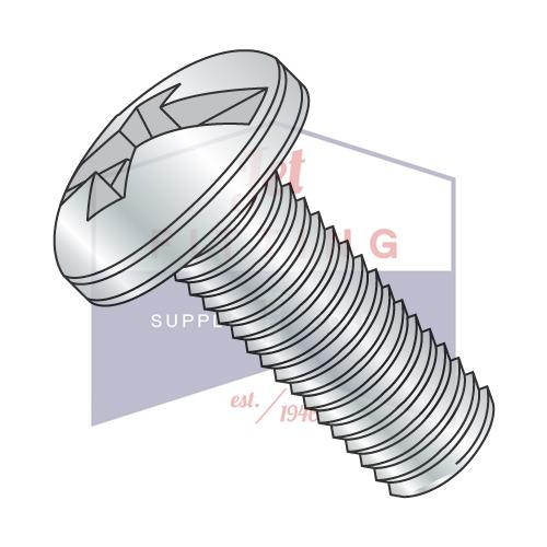 10-32X1/2  Combination (Phil/Slot) Pan Head Machine Screw Fully Threaded Zinc