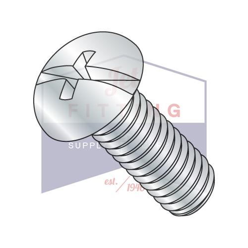 10-32X3  Combination (Phil/Slot) Round Head Fully Threaded Machine Screw Zinc