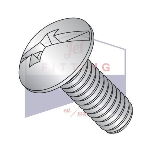 10-32X1/2  Combo Slot/Phil Full contour Truss Head Machine Screw Full Thread 18 8 S/ Steel