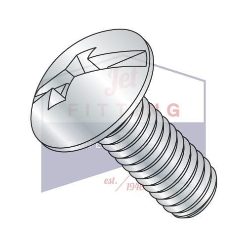 1/4-20X2  Combination (Phil/Slot) Full Contour Truss Head Machine Screw Full Thread Zinc