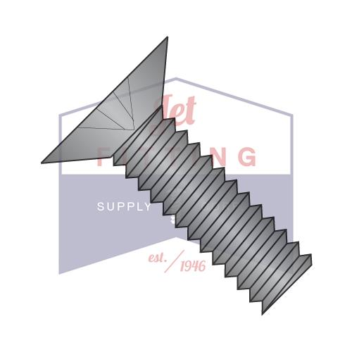 0-80X11/32  Phillips Flat 100 Degree Machine Screw Fully Threaded 18 8 Stainless Steel Black