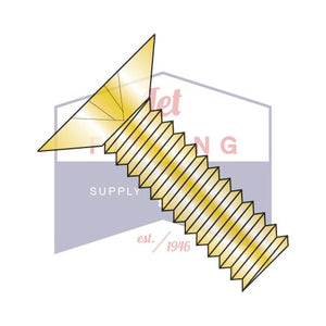 6-32X1/4  Phillips Flat 100 Degree Machine Screw Fully Threaded Zinc Yellow