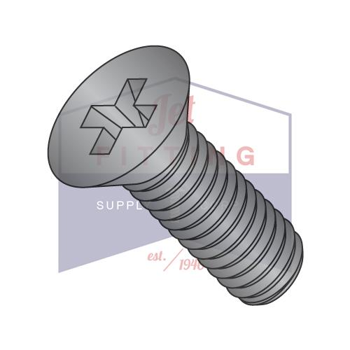 10-32X3/8  Phillips Flat Machine Screw Fully Threaded 18 8 Stainless Steel Black Oxide