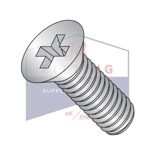 10-32X7/16  Phillips Flat Machine Screw Fully Threaded 18 8 Stainless Steel