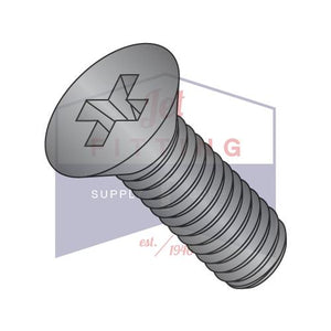 1/4-20X1/2  Phillips Flat Machine Screw Fully Threaded Black Zinc