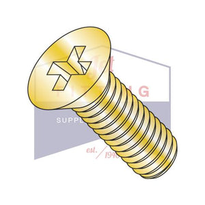 10-32X5/8  Phillips Flat Machine Screw Fully Threaded Zinc Yellow