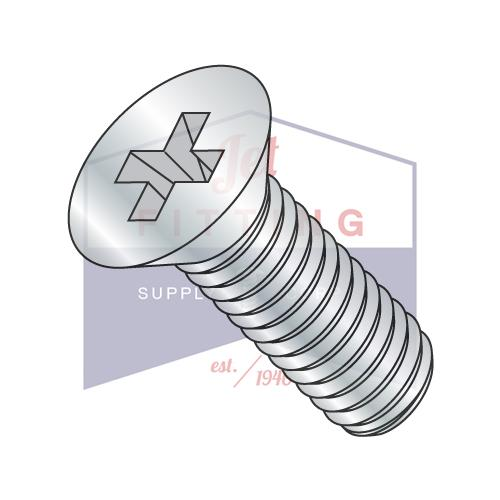 10-32X2  Phillips Flat Machine Screw Fully Threaded Zinc
