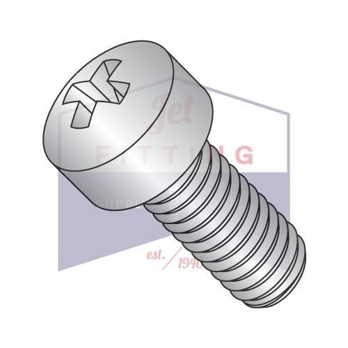 12-24X1/2  Phillips Fillister Machine Screw Fully Threaded 18-8 Stainless Steel