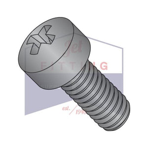8-32X3/8  Phillips Fillister Head Machine Screw Fully Threaded Black Oxide