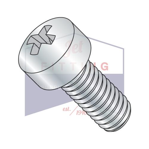 10-32X5/8  Phillips Fillister Head Machine Screw Fully Threaded Zinc