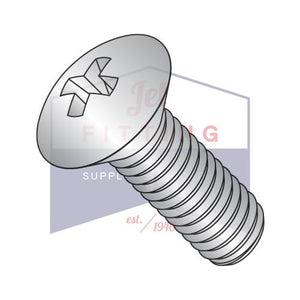 12-24X1  Phillips Oval Machine Screw Fully Threaded 18 8 Stainless Steel