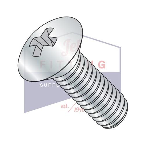 1/4-28X1  Phillips Oval Head Machine Screw Fully Threaded Zinc