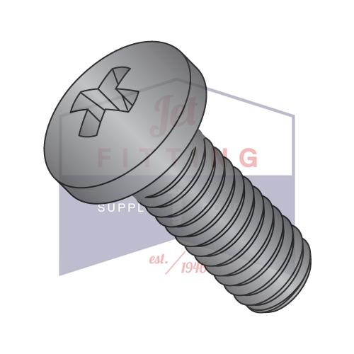 10-32X3/8  Phillips Pan Machine Screw Fully Threaded 18 8 Stainless Steel Black Oxide