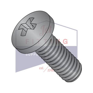 6-32X1 1/2  Phillips Pan Machine Screw Fully Threaded 18 8 Stainless Steel Black Oxide