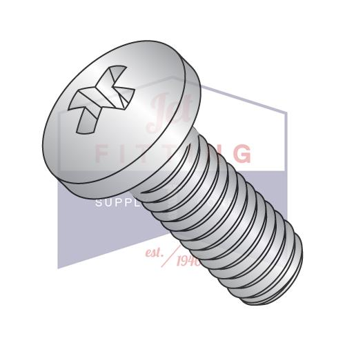 12-24X1  Phillips Pan Machine Screw Fully Threaded 18-8 Stainless Steel