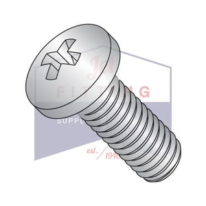 4-40X1/2  Phillips Pan Machine Screw Fully Threaded 410 Stainless Steel