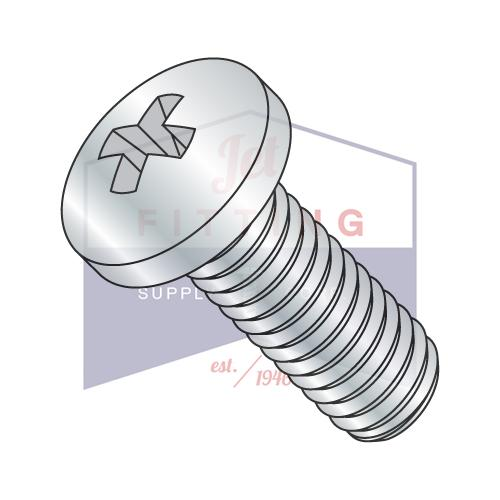 3-48X1 1/4  Phillips Pan Machine Screw Fully Threaded Zinc