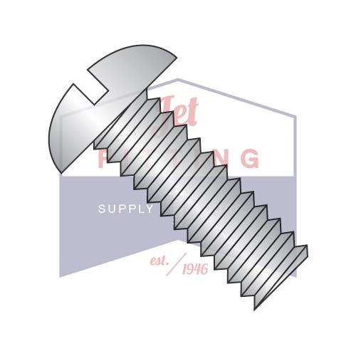 10-32X3/8  Slotted Round Machine Screw Fully Threaded 18-8 Stainless Steel