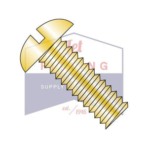 10-32X3/8  Slotted Round Machine Screw Fully Threaded Zinc Yellow