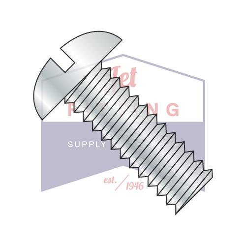 10-32X3 1/2  Slotted Round Machine Screw Fully Threaded Zinc