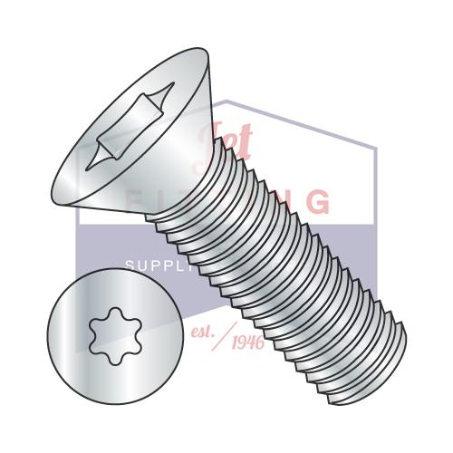 6-32X3/8  6 Lobe Flat Machine Screw Fully Threaded Zinc