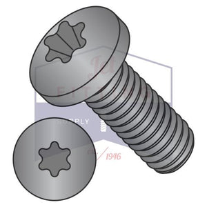 2-56X1/8  6 Lobe Pan Machine Screw Fully Threaded 18 8 Stainless Steel Black Oxide and Oil