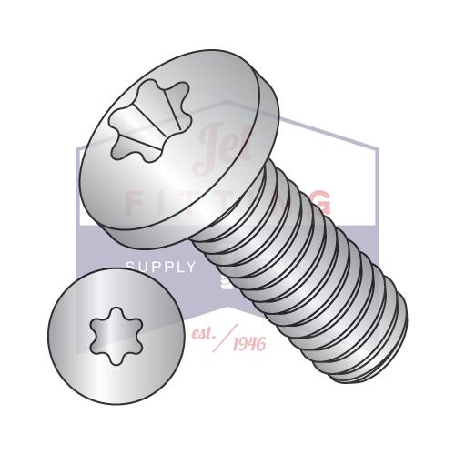 10-32X3/8  6 Lobe Pan Machine Screw Fully Threaded 18-8 Stainless Steel