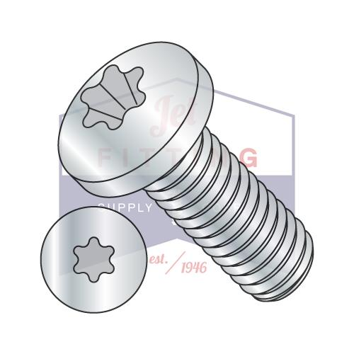 1/4-20X7/8  6 Lobe Pan Machine Screw Fully Threaded Zinc