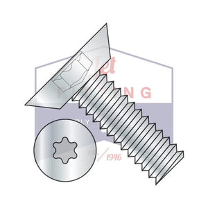6-32X3/8  6 Lobe Flat Undercut Machine Screw Fully Threaded Zinc