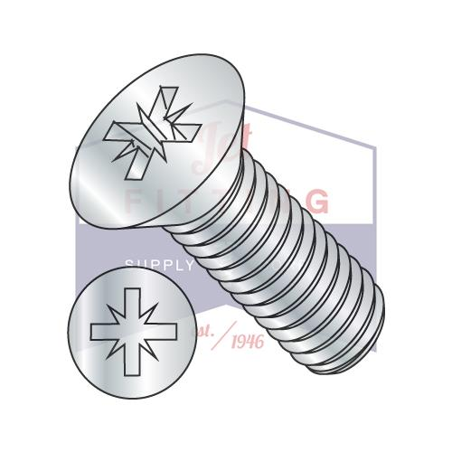 6-32X1/2  Pozi Drive Alternative Type 1A Recess Flat Machine Screw Fully Threaded Zinc
