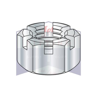 7/8-14  Slotted Hex Nut Zinc