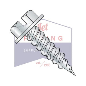 "8-15X3/8  Slt Ind Hex Washer 1/4"" Across The Flats F/T Self Piercing Scr Needle  Pt  Zinc"