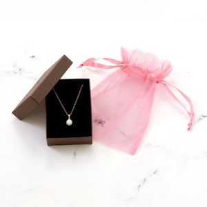 Gold Necklace with a Sliding Cultured Freshwater Pearl Pendant - the-southern-magnolia-too