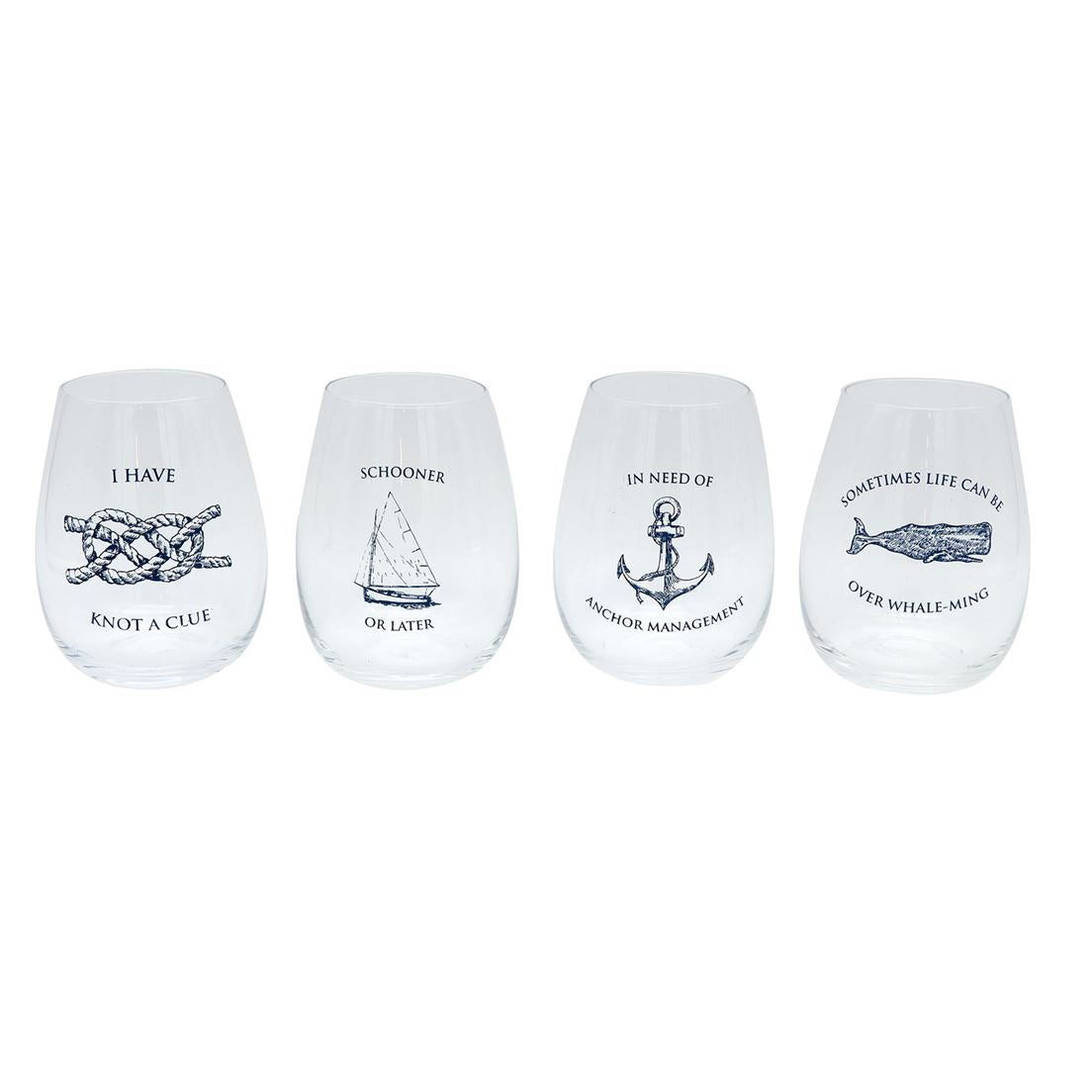 Nautical Puns Stemless Wine Glass Each - the-southern-magnolia-too