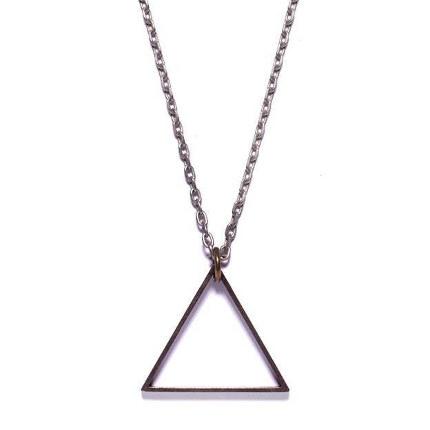 Mens Silver Oxidized Triangle Necklace - the-southern-magnolia-too