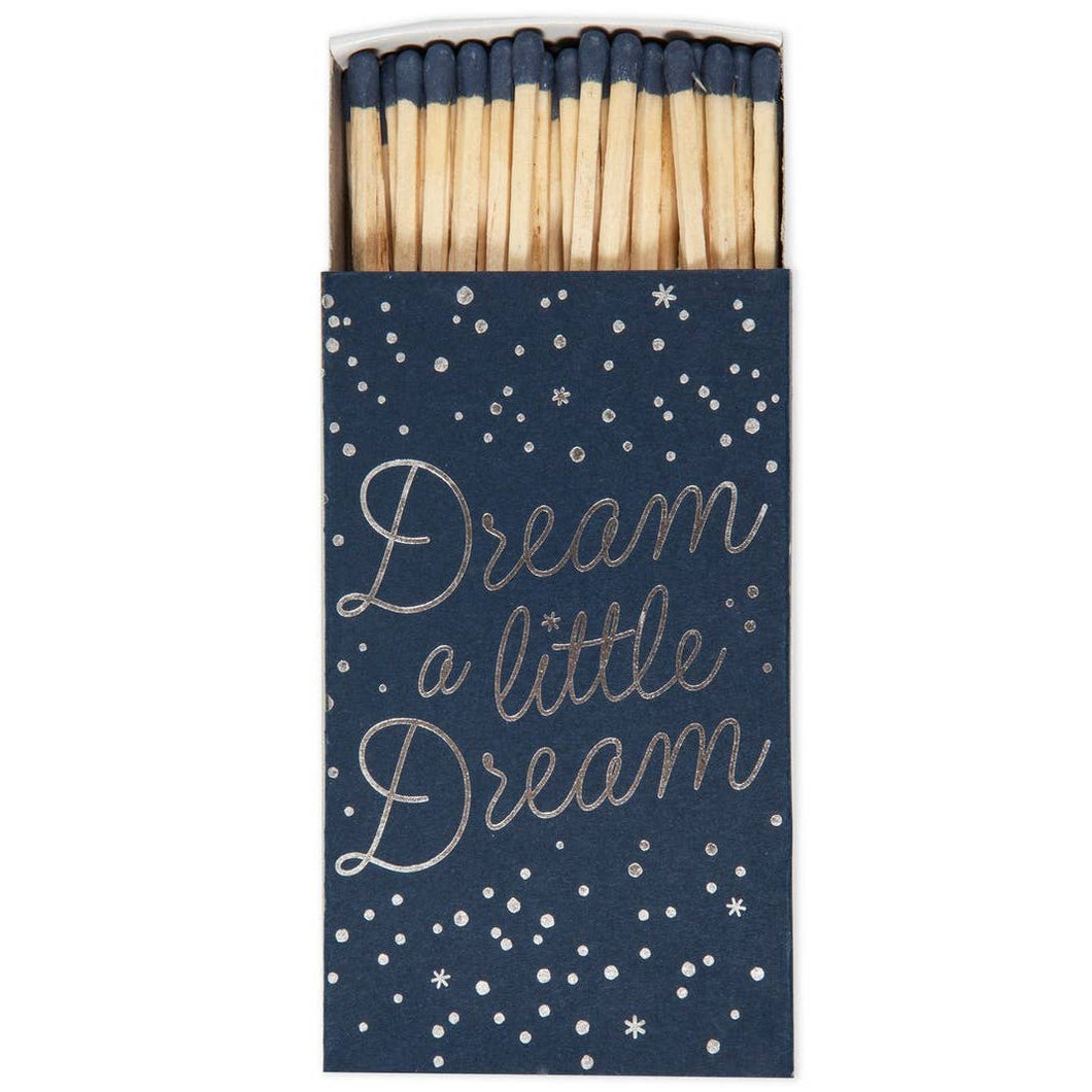 Dream A Little Navy and Gold Box of Blue Tipped Cigar Matches - the-southern-magnolia-too