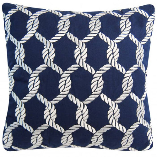 Nautical Knots Rope Pattern Pillow - Outdoor Sunbrella - the-southern-magnolia-too