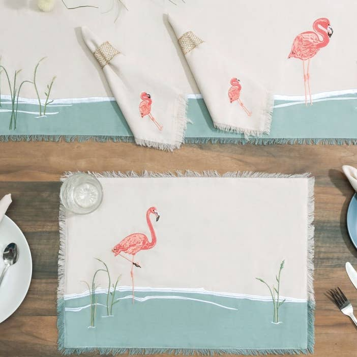 Embroidered Flamingo Cotton Napkins - the-southern-magnolia-too