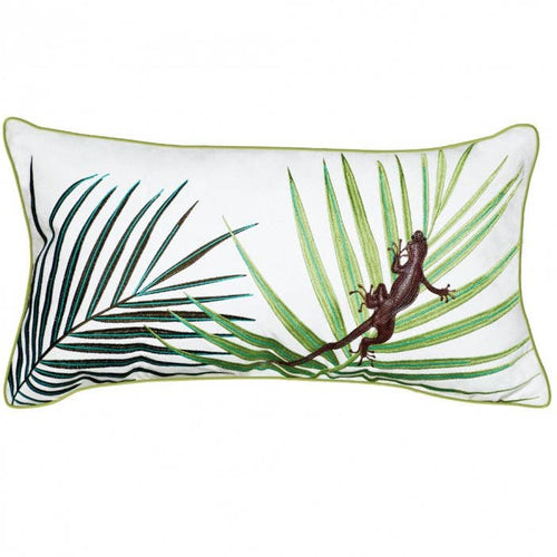 Palms with Lizard Lumbar Pillow - Outdoor Sunbrella - the-southern-magnolia-too