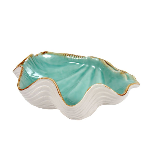 Large Ceramic Scallop Turquoise Bowl - the-southern-magnolia-too