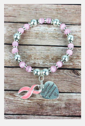 Pink Ribbon and Silvertone Heart Charm Beaded Bracelet - the-southern-magnolia-too
