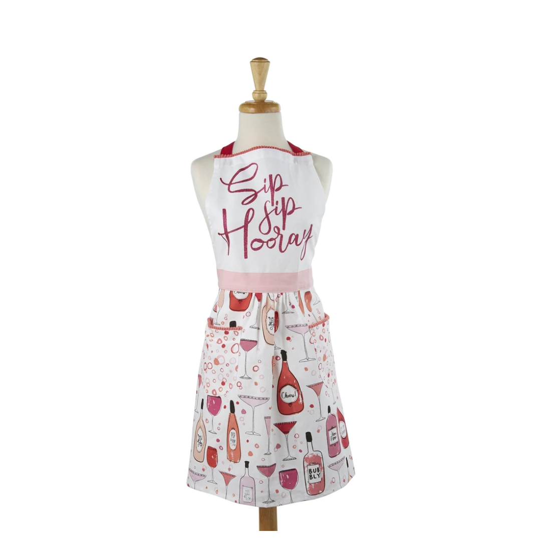 Sip Sip Hooray Printed Apron - the-southern-magnolia-too