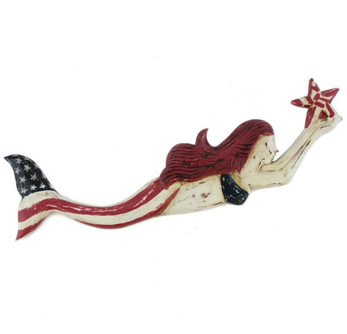 Patriotic Redhead Mermaid Wall Hanging