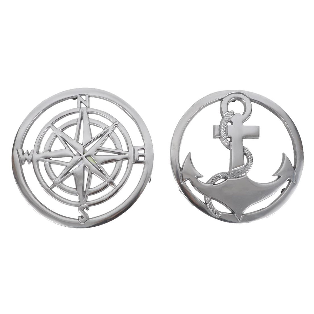 Silver Aluminum Anchor and Compass Trivet Set - the-southern-magnolia-too