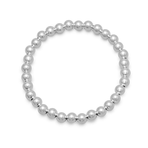 Sterling Silver Bead Stretch Bracelet - the-southern-magnolia-too