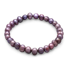 Load image into Gallery viewer, Plum Cultured Freshwater Pearl Stretch Bracelet - the-southern-magnolia-too